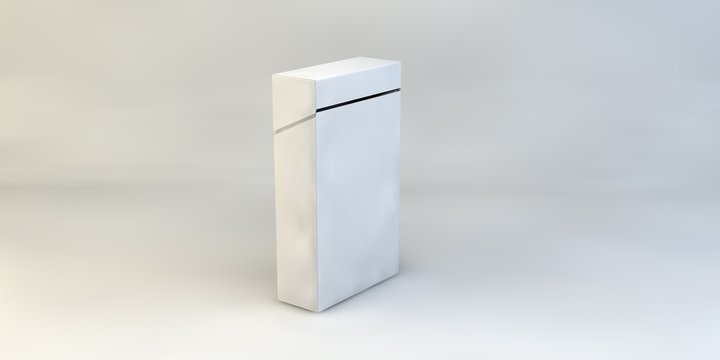 3d render illustration cigarettes box mock up isolated on white background