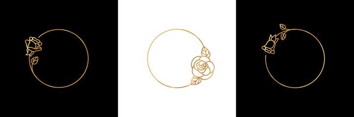 Set Rose Flower gold frame badge and icon in trendy linear style - Vector Logo Emblem of Rosebud