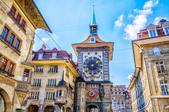 Astronomical clock on the medieval Zytglogge clock tower in Kramgasse street in old city center of Bern, Switzerland
