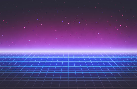 80s style Retro Futurism Sci-Fi Background. abstract glowing neon grid. Suitable for banner, poster design. 3d rendering