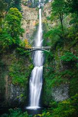Beautiful Cascading Waterfall Multnomah Falls with Scenic Stone Bridge