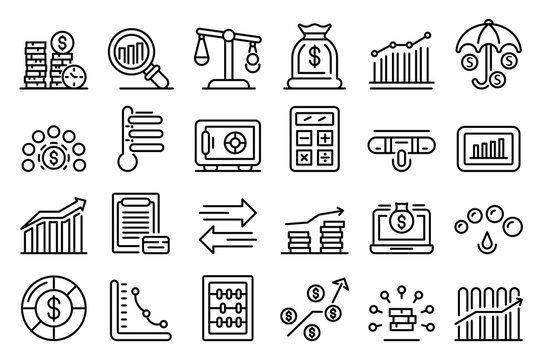 Credit score icons set. Outline set of credit score vector icons for web design isolated on white background