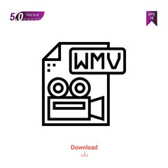Outline wmv file icon isolated on white background. Popular icons for 2019 year. file-types. Graphic design, mobile application, logo, user interface. EPS 10 format vector