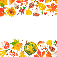 Horizontal watercolor frame of autumn leaves, sunflowers, mushrooms, acorns, cones, pumpkins, rowan, cranberries, wheat. Forest colorful natural elements. Autumn frame for invitation, poster, banner.