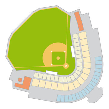 colored floor plan of a fictitious baseball stadium