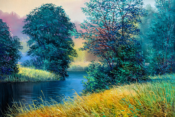 Spoed Foto op Canvas Groen blauw Oil painting landscape , colorful summer forest, beautiful river