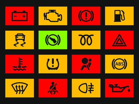 Car dashboard warning lights icons set. Vector illustration image. Vehicle service logo. Isolated on black background.