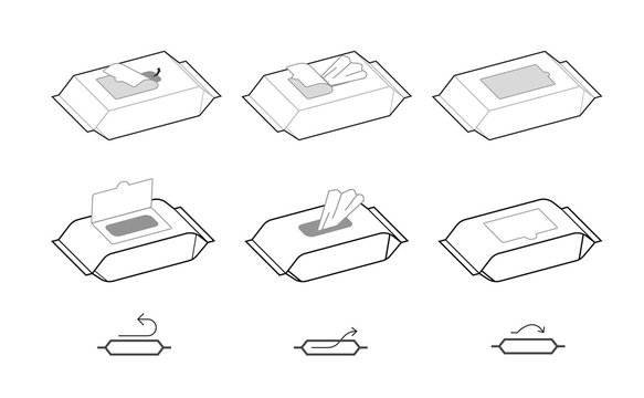 Instruction for open wet wipes pack. Vector icons on white background. Ready for your design. EPS10.