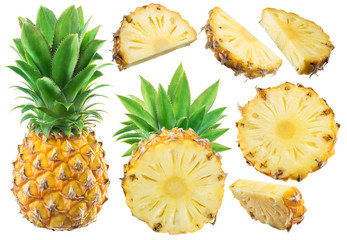 Wall Mural - Collection of pineapple and different pineapple fruit slices on white background.