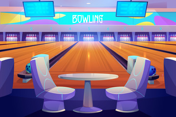 Bowling club interior with tables and armchairs stand near alleys with balls, pins and scoreboard screens. Empty place for entertainment, leisure and sports tournaments. Cartoon vector illustration