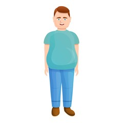 Young fat man icon. Cartoon of young fat man vector icon for web design isolated on white background