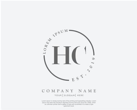 Initial letter HC beauty handwriting logo vector