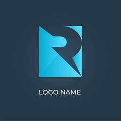 """Letter """"R"""" square logo isolated. Alphabet vector"""