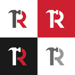 Initial letter R and hammer logo template, repair or renovation design concept