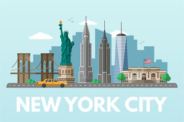 Canvas Prints Light blue New York city flat vector illustration