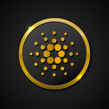 CARDANO. Accepted sign emblem. Crypto currency. Golden coin with CARDANO symbol onblack background.