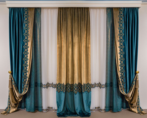 The green double-sided velvet curtains with embroidery and a luxurious gold brush