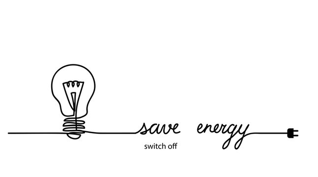 Switch off, turn off light, save energy, energy conservation concept. Minimal vector background with one continuous line drawing.