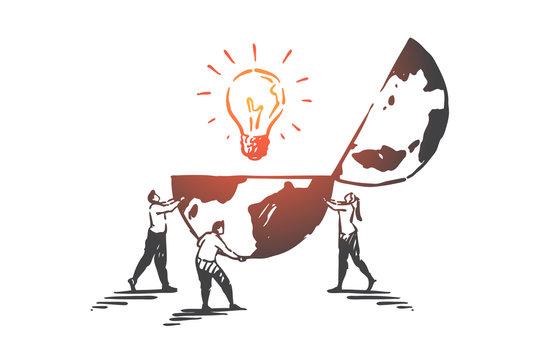 Innovation, creativity, teamwork concept sketch. Hand drawn isolated vector