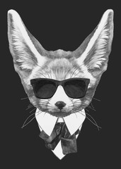 Portrait Fennec Fox in suit. Hand-drawn illustration of dog. Vector isolated elements.