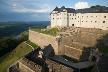 Fortress Koenigstein - Walls and entrance to the fortress of Koenigstein in Saxony, Germany.