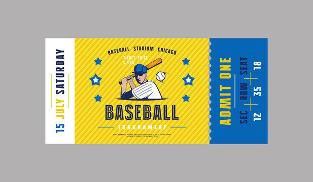 Template of baseball ticket