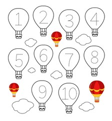 Handwriting practice sheet. Learning numbers 1-10. Educational game for children. Cartoon air balloon.