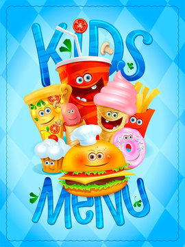 Kids menu card design with drink, ice cream, pizza, hot dog, french fries, hamburger, muffin and donut symbols