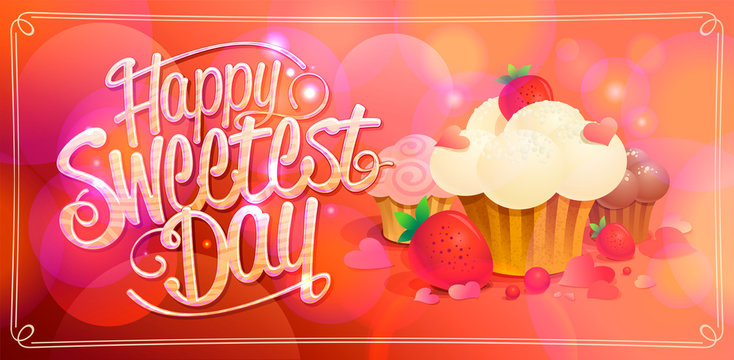 Happy sweetest day banner with sweets