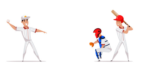 Baseball game flat banner vector template