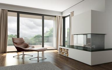 Fototapeta Wohnraum mit Kamin obraz
