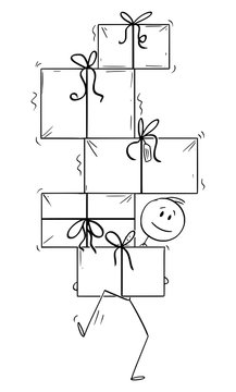 Vector cartoon stick figure drawing conceptual illustration of man carrying or balancing big pile of christmas or birthday gifts.