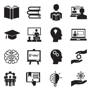 Knowledge Icons. Black Flat Design. Vector Illustration.