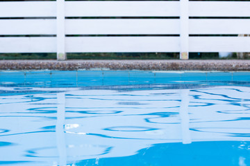 simple wallpaper pattern view yard outdoor space swimming pool blue water surface foreground and white garden wooden deck fence background picture with empty copy space for your text