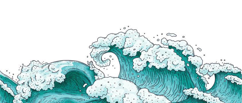 Seamless horizontal border with ocean water waves cartoon vector illustration.