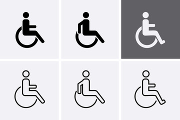 Handicapped Icons set. Disabled man symbol, Vector