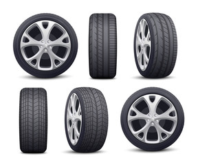 Automobile tires and wheels icons set realistic vector illustration isolated.