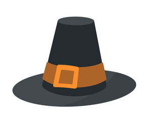 Vintage pilgrim hat flat vector illustration