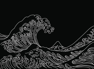 Big Asian ocean wave and the mountain illustration. Isolated on white background. Ocean of Kanagawa.Single line stroke.-Vector.