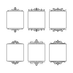 Set of hand drawn vintage fancy borders. Vector isolated vignette ornate frames for invitation card.