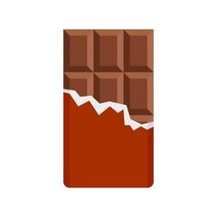 Chocolate bar icon. Flat illustration of chocolate bar vector icon for web design