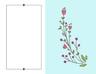 Tarjeta de felicitación con rosas, acuarela, se puede utilizar como tarjeta de invitación para bodas, cumpleaños y otras vacaciones y verano de fondo. Ilustración vectorial Marco floral hecho de lavan