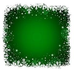 Vektor - Weihnachtlicher Hintergrund - Gruen - Schnee - Textfreiraum