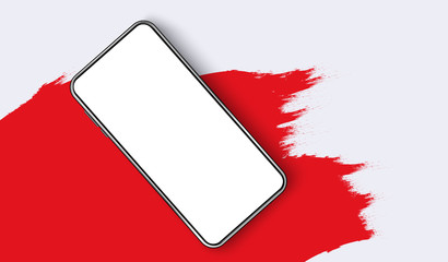 Smartphone blank screen, phone mockup. The view from the top of the phone on a red spot. Template for infographics or presentation UI design interface. vector Fototapete