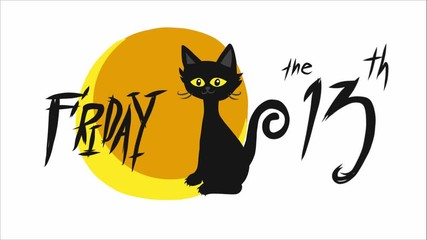 Wall Mural - Friday 13th Black cat and full moon cartoon