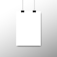 Blank white sheet of A4 paper on transparent background. Blank white poster template hanging on clips. Vector Advertising Booth Display Banner. Vector illustration
