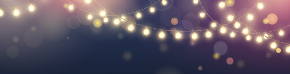 Vector horizontal banner with string of realistic hanging yellow lights garlands on dark blue background with effect bokeh. Festive shiny glowing bulbs for design of website headers and holiday flyers
