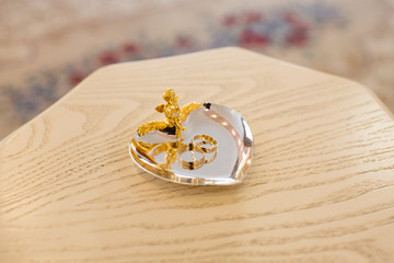Pair of gold rings for wedding ceremony