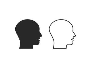 Head, talk, speaking icon. Vector illustration, flat design.