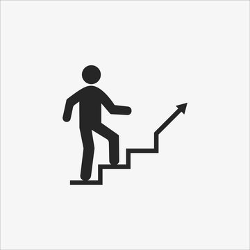 Stairs, Career ladder icon. Vector illustration, flat design.